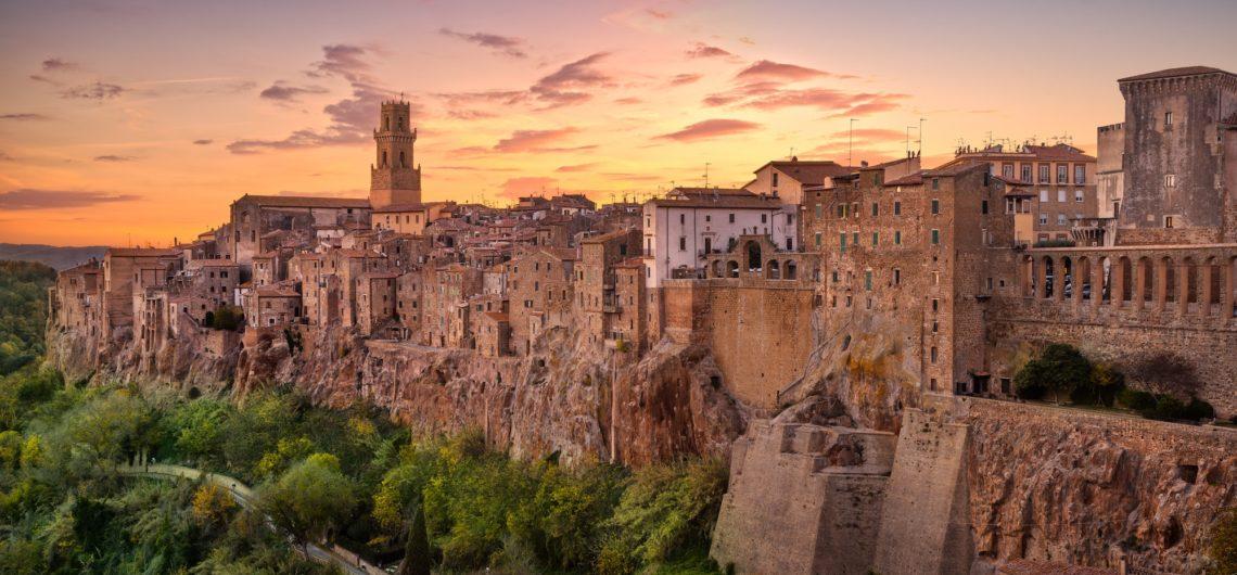 Tuscany, Pitigliano medieval village panorama sunset. Italy